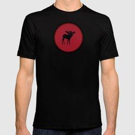 Bull Moose Silhouette - Black on Red T-shirt