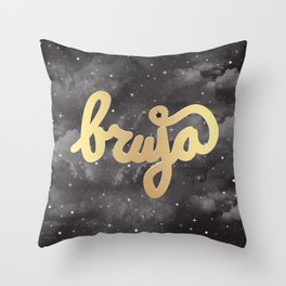 La Bruja Vibes in Gold Throw Pillow