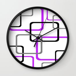 Geometric Rounded Rectangles Collage Purple Wall Clock