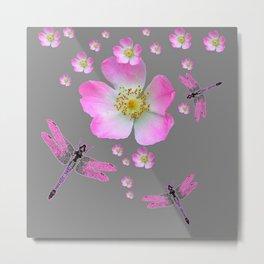 ROSE DRAGONFLIES & WILD PINK ROSES Metal Print