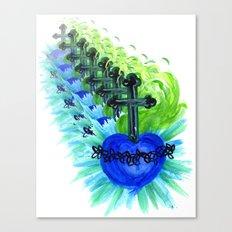 Sacred Heart, blue Canvas Print