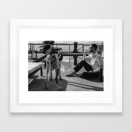 I'll take my drink by the pool. Framed Art Print