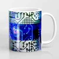 finland Mugs featuring circuit board Finland by seb mcnulty