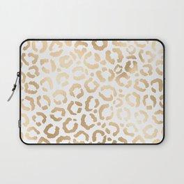 Elegant Gold White Leopard Cheetah Animal Print Laptop Sleeve