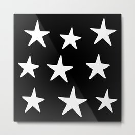 Star Pattern White On Black Metal Print