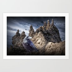 Gothic Sand Castle Towers and Black Ravens Art Print