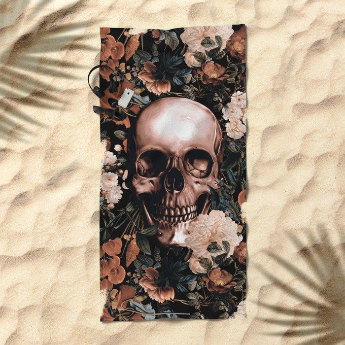 SKULL AND FLOWERS II Beach Towel