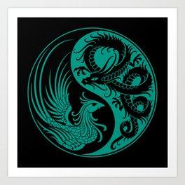 Teal Blue and Black Dragon Phoenix Yin Yang Art Print
