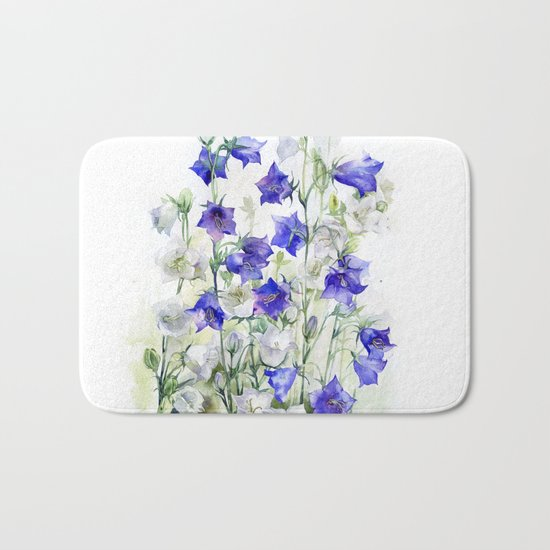 Bluebells watercolor flowers, aquarelle bellflowers Bath Mat
