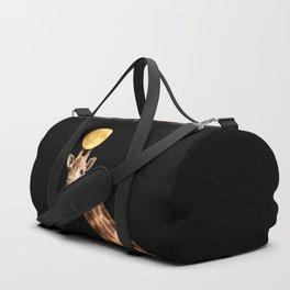 Giraffe And The Moon On A Black Background #decor #buyart #society6 Duffle Bag