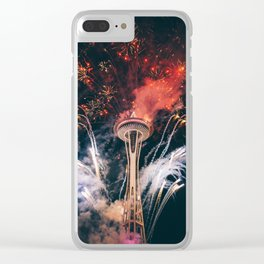 Space Needle Seattle at night Clear iPhone Case