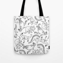 Dinosaurs in W & B Tote Bag