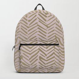 Bohemian, Herringbone, Abstract, Pattern, Blush Pink and Gold Backpack