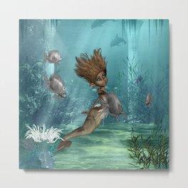 Cute little mermaid Metal Print