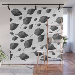 vintage birch leaf pattern Wall Mural