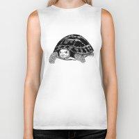 tortoise Biker Tanks featuring Tortoise by Emma Barker