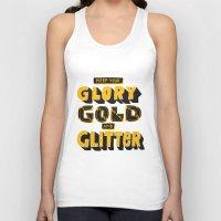 gold glitter Tank Tops featuring Glory, Gold, Glitter by Vaughn Fender