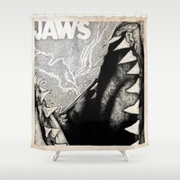 jaws Shower Curtains featuring Jaws by Sinpiggyhead