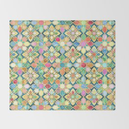 Gilded Moroccan Mosaic Tiles Throw Blanket