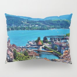 Lake Lucerne, Switzerland Chapel Covered Bridge Pillow Sham