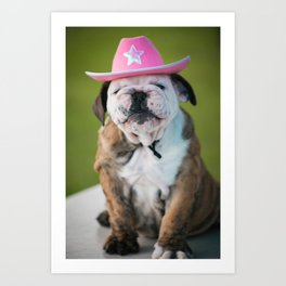 Cowgirl Puppy Art Print