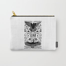 Soar Folk Art Birds - Black and White Carry-All Pouch