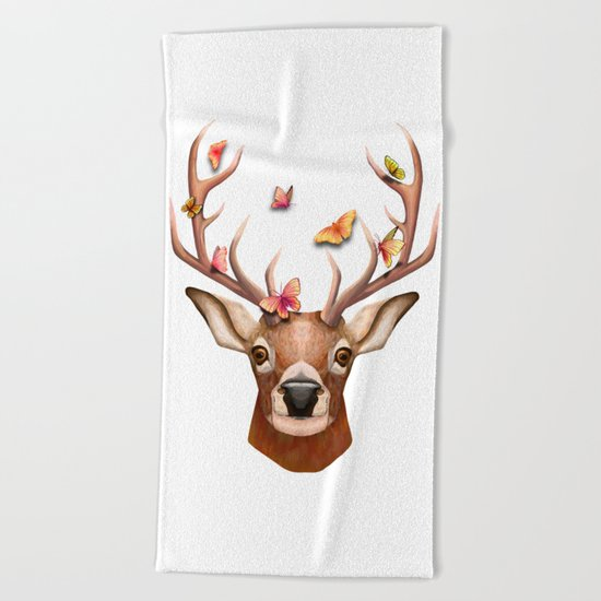 Stag and the Butterflies  Beach Towel