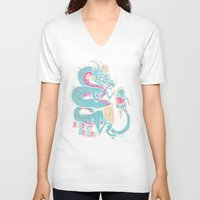 dessert V-neck T-shirts featuring Dessert Dragon by Heartjack