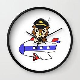 Owl bird pilot aircraft rotor children gift Wall Clock