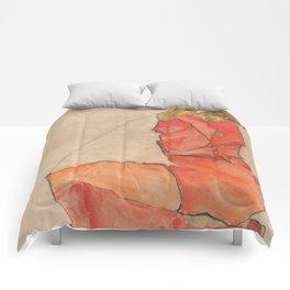 Egon Schiele - Kneeling Female in Orange-Red Dress Comforters