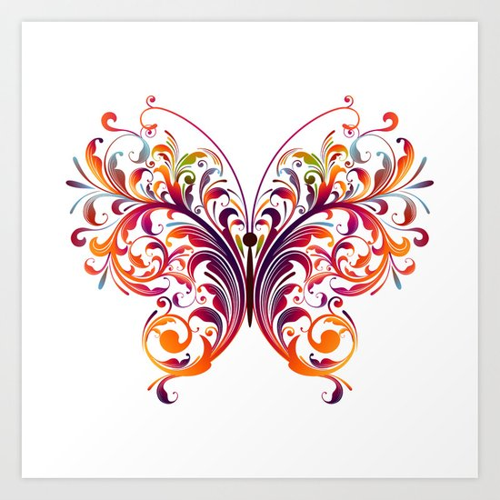 Multicolor Butterfly Art Print