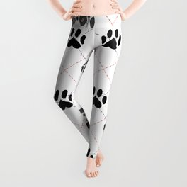 Harlequin Great Dane Paw Print Pattern Leggings