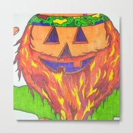 Hippy Pumpkin Metal Print