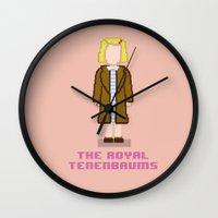 tenenbaum Wall Clocks featuring Margot Tenenbaum 8 bits by AlbaRicoque