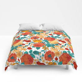 Vintage flower garden Comforters