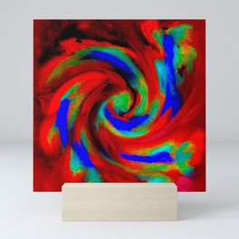 Red Blue Green Fireball Sky Explosion Mini Art Print