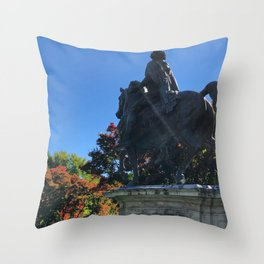 Statue Amongst the Changing Colors Throw Pillow