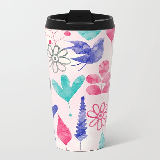 Watercolor Botanical Garden V Metal Travel Mug