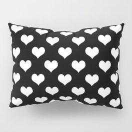 Black White Hearts Minimalist Pillow Sham
