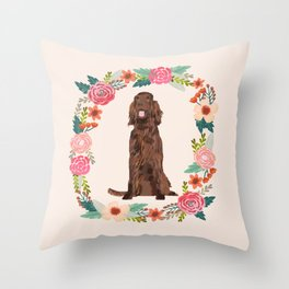irish setter floral wreath spring dog breed pet portrait gifts Throw Pillow