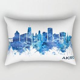 Akron Ohio Skyline Blue Rectangular Pillow