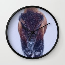Bison Moving Through the Snow in Yellowstone National Park Wall Clock