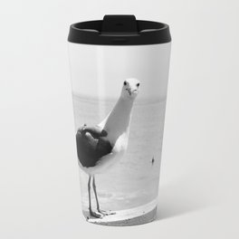 Black And White Staring Seagull Travel Mug