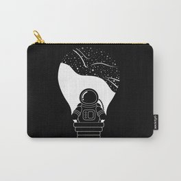 Space Odyssey   Lightbulb   Astronaut   Black and White   Cosmos   Stars   Galaxy   pulp of wood Carry-All Pouch