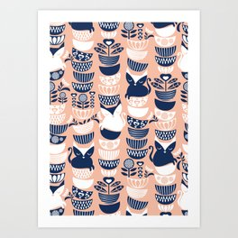 Swedish folk cats V // flesh background Art Print