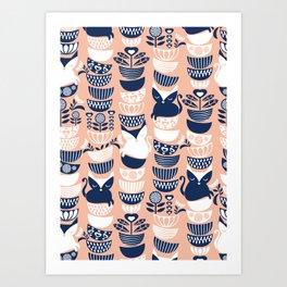 Swedish folk cats V // flesh background Art Print