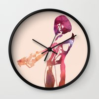fifth element Wall Clocks featuring Leeloo - the Fifth Element by pithyPENNY