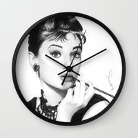hepburn Wall Clocks featuring Audrey Hepburn Pencil drawing by Thubakabra