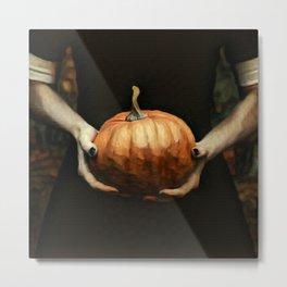 Girl Holding A Pumpkin 1 Metal Print