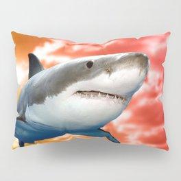 Shark flying in red sky Pillow Sham
